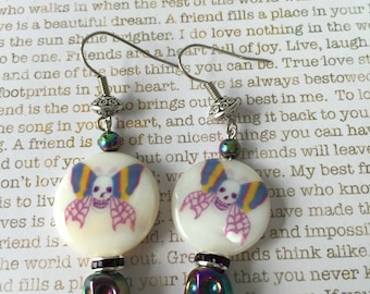 Sugar Skull Earrings - Rainbow Titanium Skulls and Shell Beads Gothic Beauty Day of the Dead Jewelry Dia de los Muertos All Saints Day