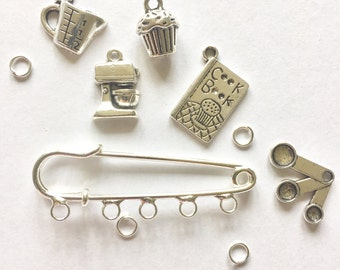 Bakery theme, Safety Pin brooch kit, Kilt Pin, kit, Charm Brooch, domestic goddess, Bake Off, Yummy Mummy, cook's gift, gift for her