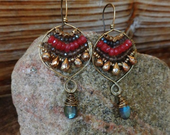 Cheers. Hammered Artisan Boho Gold Brass Chandelier Earrings with Wire Wrapped Labradorite Smoky Quartz, Pink Chalcedony and Gold Pearl Gems