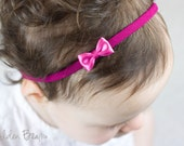 Little Pink Baby Bow -Flower Girl- Little Satin Pink Bow Handmade Headband - Flower Girl Headband - Fits From Babies to Adults - Golden Beam