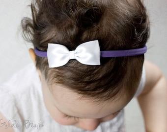 White and Cornflower Baby Bow Headband - Flower Girl Headband - Small Satin White Bow Handmade Headband - Newborn to Adult Headband