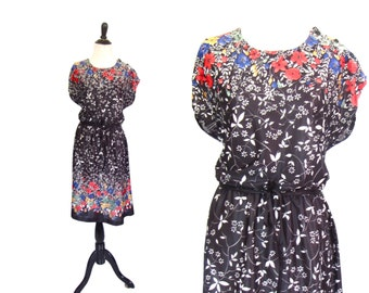 Vintage 1970's Dress l Black Floral Print l Size Large/ XL l Vintage Dress