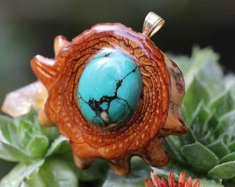 Turquoise Third Eye Pinecone Pendant