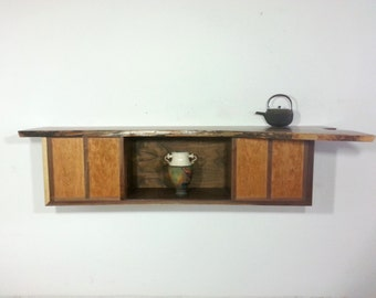 Large Live Edge Walnut Floating Wall Hanging Console Desk Bookcase with 2 Drawers Mid Century and Japanese Influenced