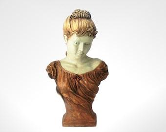 """Beautiful Bust Sculpture, 17"""" High, Hand Made Item, Handmade Art"""