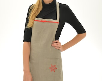 Pure Linen Apron/Linen Apron With Handembroidered Snowflake On Pocket/Full Apron