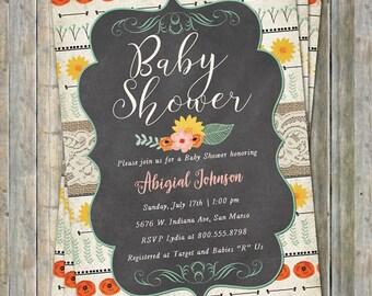 Floral Baby Shower Invitation, Boho, Digital Printable file