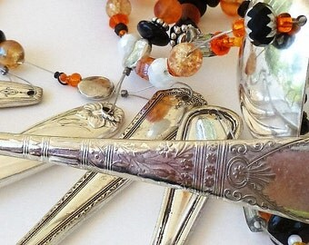 Spoon Chime Wind Chime Beaded Cutlery Windchime Vintage Silverware Wind Chime Iridescent Beads Yard Art Original Handmade Hand Tuned