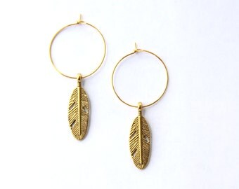 Gold Feather Earrings, Feather Jewelry, Hoop Earrings, Bohemian Jewelry, Rustic Earrings, Dangle Feather Earrings, Gifts For Her Under 20