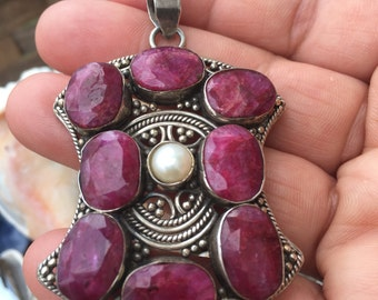 Ethnic Vintage middle eastern pendant with ruby and pearl sterling silver