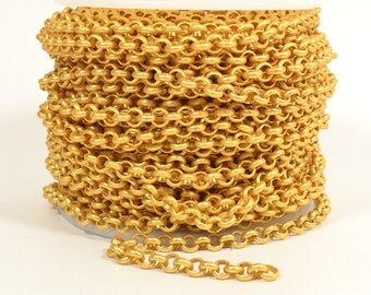3ft - 18K Gold Plated Rolo Chain - 4.8mm Matte Gold Plated - CH80-18K-MG