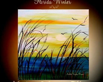 """Sale ORIGINAL 24"""" x 24""""  Abstract Acrylic gallery canvas-Contemporary Modern Florida Winter Marsh Oil painting by Nicolette Vaughan Horner"""