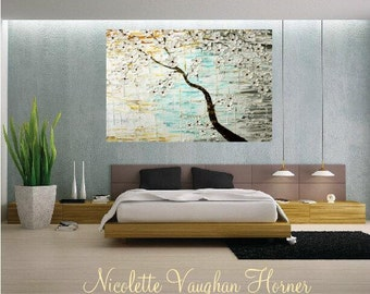 ENORMOUS ORIGINAL gallery canvas-Textured,seafoam,white,rust,grey abstract  landscape Tree Of Life painting by Nicolette Vaughan Horner