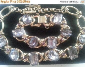 Now On Sale Vintage Juliana Style Purple Lavender Rhinestone Bib Drop Necklace * 1950's 1960's Collectible Rare Vintage Jewelry