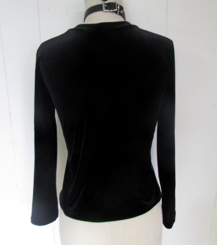 Velvet Pop Art Strethy 90's Color Block Black Shirt