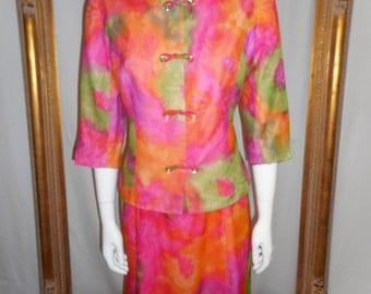 Vintage 1960's Pastel Multi Colored Print Chiffon Dress & Jacket Set - Size 12