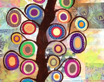 Kerri Ambrosino Art PRINT Mexican Folk Art Flower Tree of life  Patch Quilt