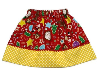 Girls Christmas Skirt Christmas Cookies and Candy Yellow Polka Dot - Size 6-12 month, 12-18 month, 2 / 3, 4 / 5, 6 / 7, 8 / 9
