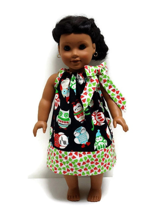 18 inch doll clothes christmas owls pillowcase dress 15 inch doll