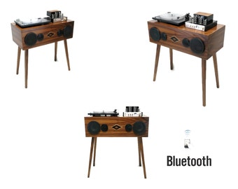 EXCLUSIVE CUSTOM series - VintedgeCo Mini Premier™ Console Record Player in Walnut - Bluetooth - Turntable - Tube Amplifier