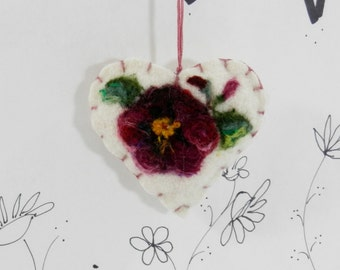 Needle felted heart ornament, brooch, pincushion, purple pansy ornament, Mothers Day, friend ornament, Forget me not heart from Curly Furr