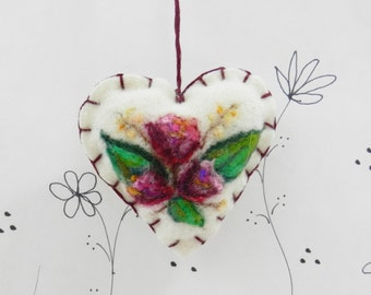 Needle felted heart ornament, brooch, pincushion, purple tulip ornament, Mothers Day, friend ornament, Forget me not heart from Curly Furr