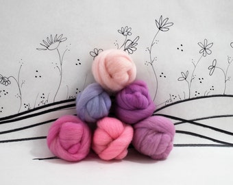 Wooly Buns loose wool roving assortment in Ballerina, 1.5 oz, needle felting supplies, roving supplies, hand dyed roving, pink and purple