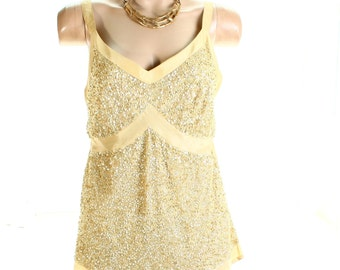 Vintage 90s Gold Sequined Silk Cami Party Top UK 14 US 12