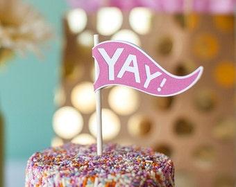 Cake Bunting Cake Flag Birthday Cake Topper Cupcake Toppers Baby Shower Favors Wedding Cake Topper Bridal Shower Favors Custom Flags