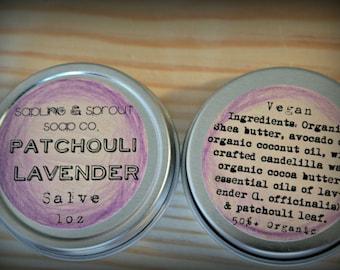 Patchouli Lavender Salve + All-Natural + 50% Organic, 1oz