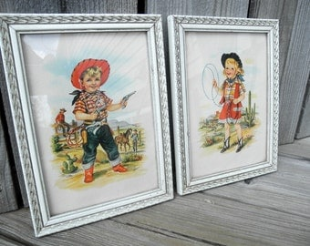 Vintage Cowboy Cowgirl Picture Prints Framed Pair Midcentury Country Western Home Decor 50s Lambert USA Southwest Art Ranch Children Child