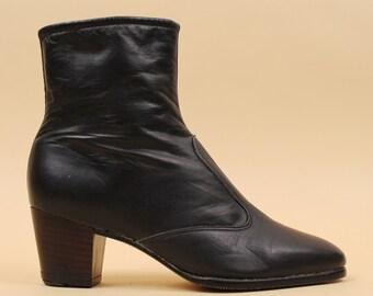 60s 70s Vtg Black LEATHER Ankle Mod Ankle Boot / Platform Heel Chelsea Biker GoGo Minimal / 5.5 5 Eu 35 35.5