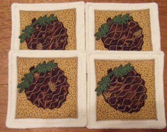 Primitive Whimsical FALL WOODLAND PINECONES Coasters Mug Mats Hot Pads Trivets