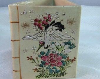 Japanese Signed Kutani Meiji Period Ceramic Triangular Pitcher