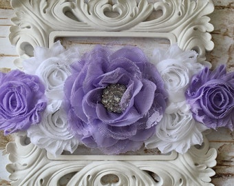 Baby Lavender Maternity Sash- Stunning Belly Photo Prop- Vintage Sash- Belly Band- Baby Shower- Mommy to Be- Newborn - Photo Prop
