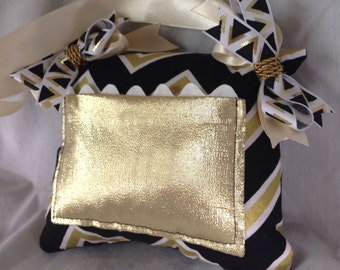 Trendy Black White and Gold Tooth Fairy Pillow with Tooth Fairy Receipts