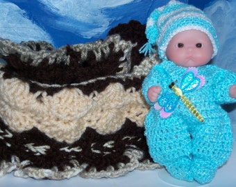 5 Inch Berenguer Doll in Crocheted Pjs with a Purse/Crib