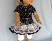 18 inch doll dress, headband, and leggings.  Fits American Girl Dolls. Black and white dots.