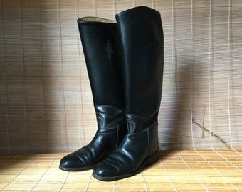 Vintage Lady's Black Leather Riding Boots Size EUR 38 / US Woman 7 1/2