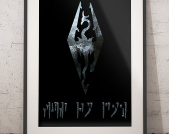 Skyrim Logo Fus Ro Dah Wall Art Print Printable digital instant download elder scrolls skyrim dragon dovahkiin