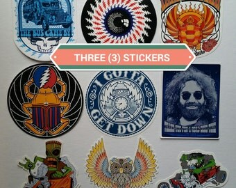 Set of 3 stickers - Grateful dead, music, spirit animal, 420 inspired - original artwork