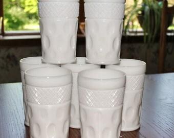 7 - McKee Opal - Milk Glass Crosshatch and Dot Design 10 ounce  Tumbler