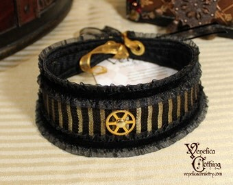 Steampunk Gear Choker -- Ready to Ship -- Black, Gold, and Brass