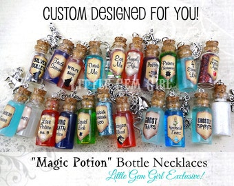 Magic Potion Bottle Necklace - 1 CUSTOM You Design Glass Bottle Cork Necklace - Potion Vial Charm - Liquid Shimmer or Glitter - Magic Spells