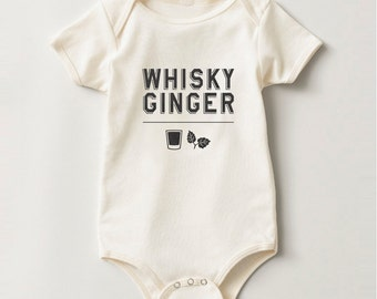 Whisky Ginger Onesie - 18 Months Infant Lap Shoulder Creeper Organic Natural Whiskey Shirt Ginger Shirt Vintage