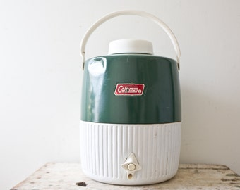 Vintage Thermos Green White Jug - Water Thermos Brand Thermo Container Green Lid Camping