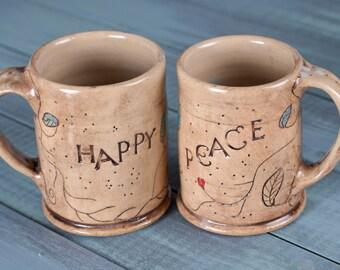 Mug Set, Coffee Mug Set, Stoneware Mug Set, Happy Mugs, Peace Mugs, Handmade Mugs, Wheel Thrown Mugs, Wheel Thrown Pottery, Inspirational