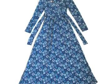 Vintage 70s Spring Floral Maxi Dress