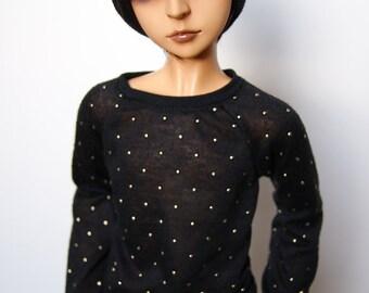 60cm / SD13 BJD Boy Gold Dot Long Sleeve Black Shirt