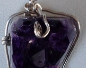 Amythest pendant in sterling silver, rich purple various in shapes